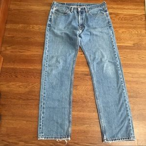 Levis 505 36 x 34 faded distressed cotton jeans